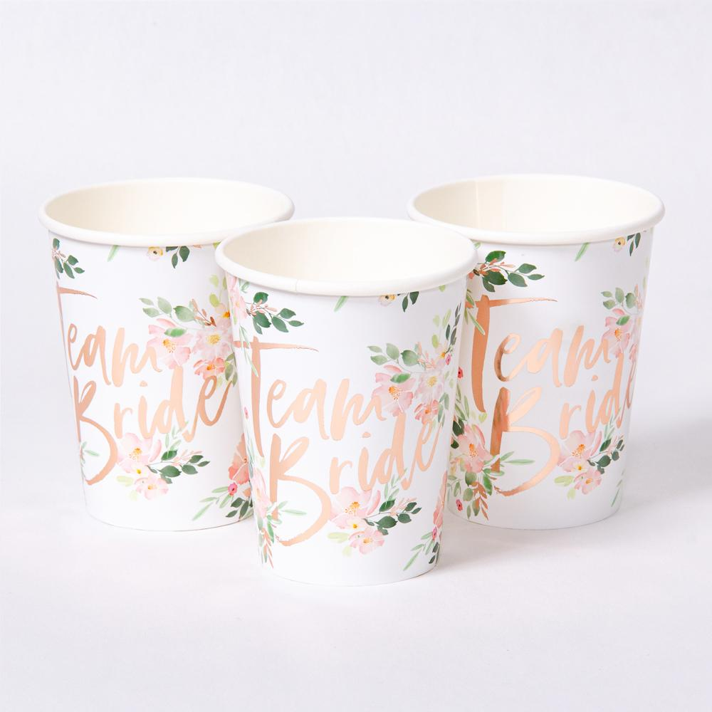 "3 hen party cups with shiny foil ""Team Bride"" phrase"