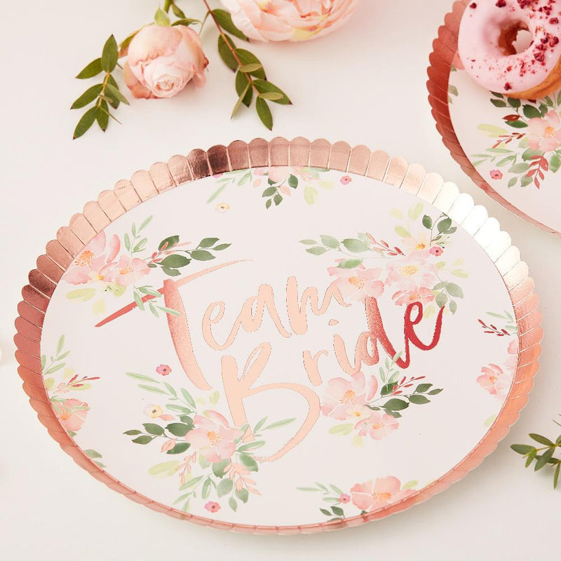 "Hen do party plate with ""Team Bride"" phrase and rose gold trim"