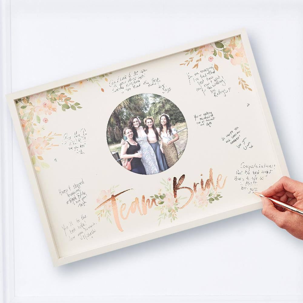 Team Bride hen do photo frame with guest's messages written on