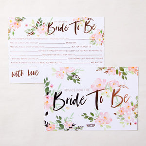 "Pack of hen do advice cards with ""Bride to Be"" written on"