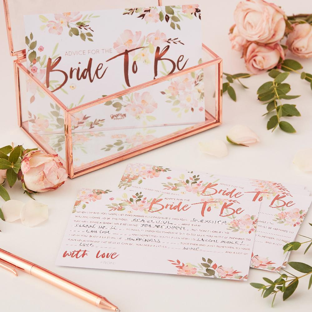 Floral Hen Party - Bride to Be Advice Cards (x10)