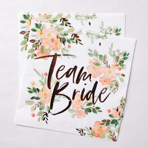 "Multiple hen party napkins with flower design and rose gold foil ""Team Bride"" phrase"