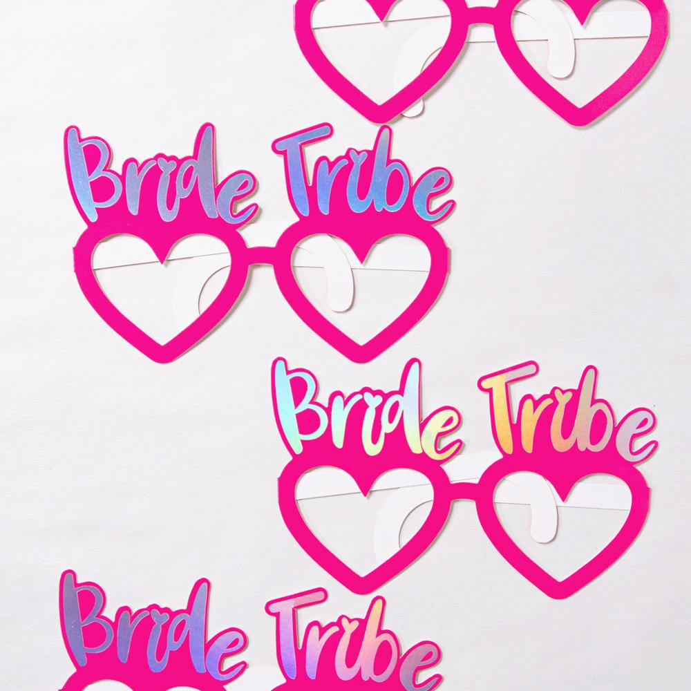 Love heart party glasses with Bride Tribe phrase on top
