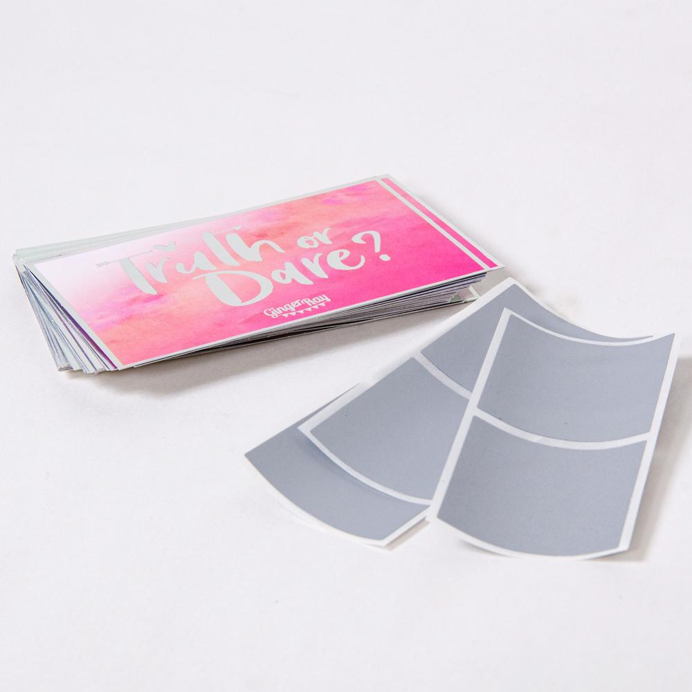 "Set of pink ""truth or dare"" cards for hen do party"