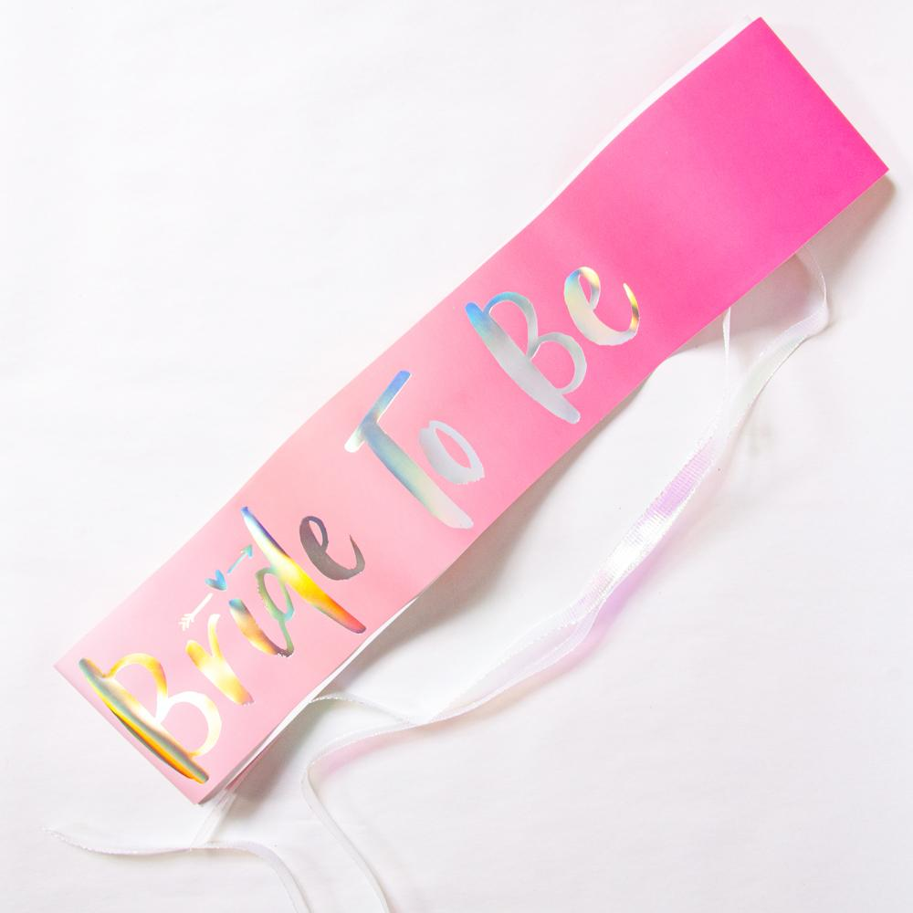 Hen do sash with iridescent Bride to Be phrase