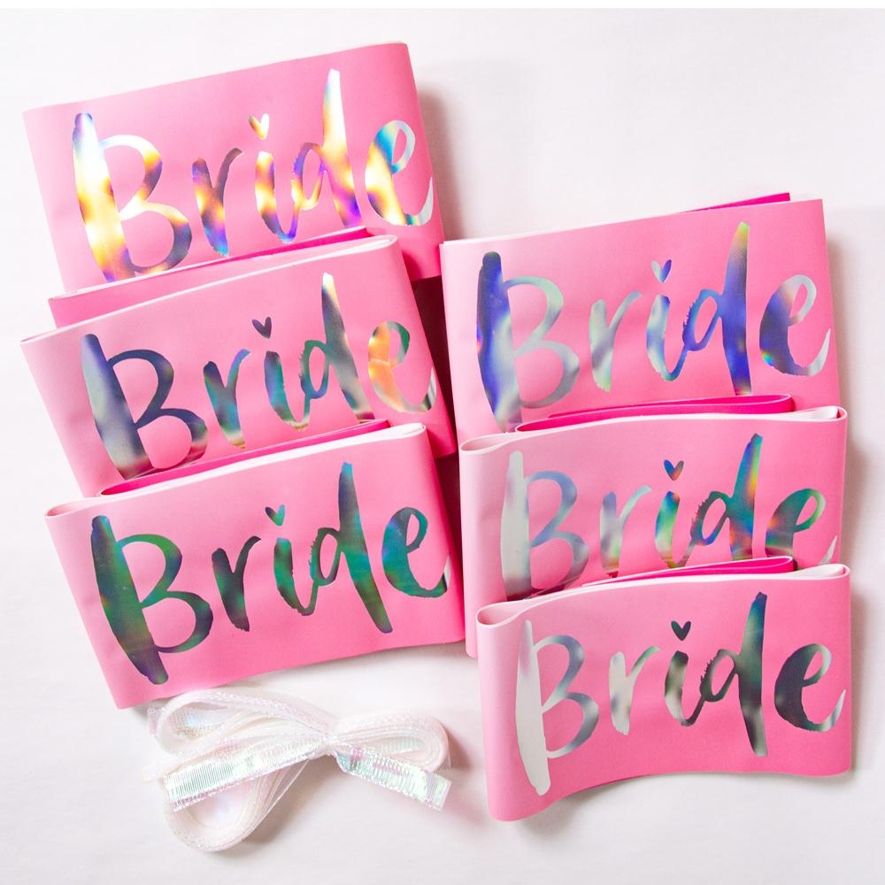 "6 hen do sashes saying ""Bride Tribe"" in iridescent foil"
