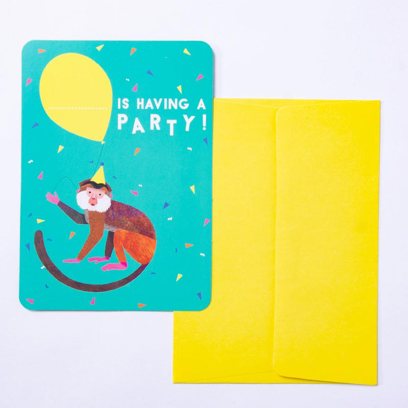 A jungle animal theme party invitation with a cute monkey holding a balloon