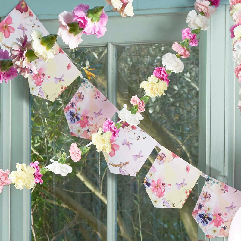Hen do party banner decorated with pink floral design