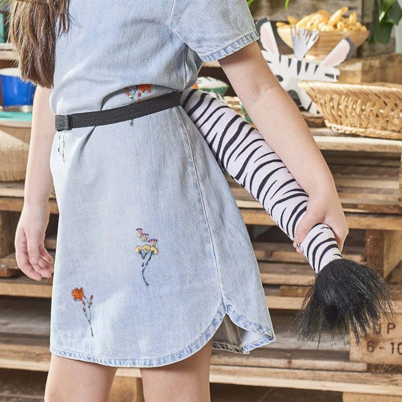 A zebra tail costume accessory