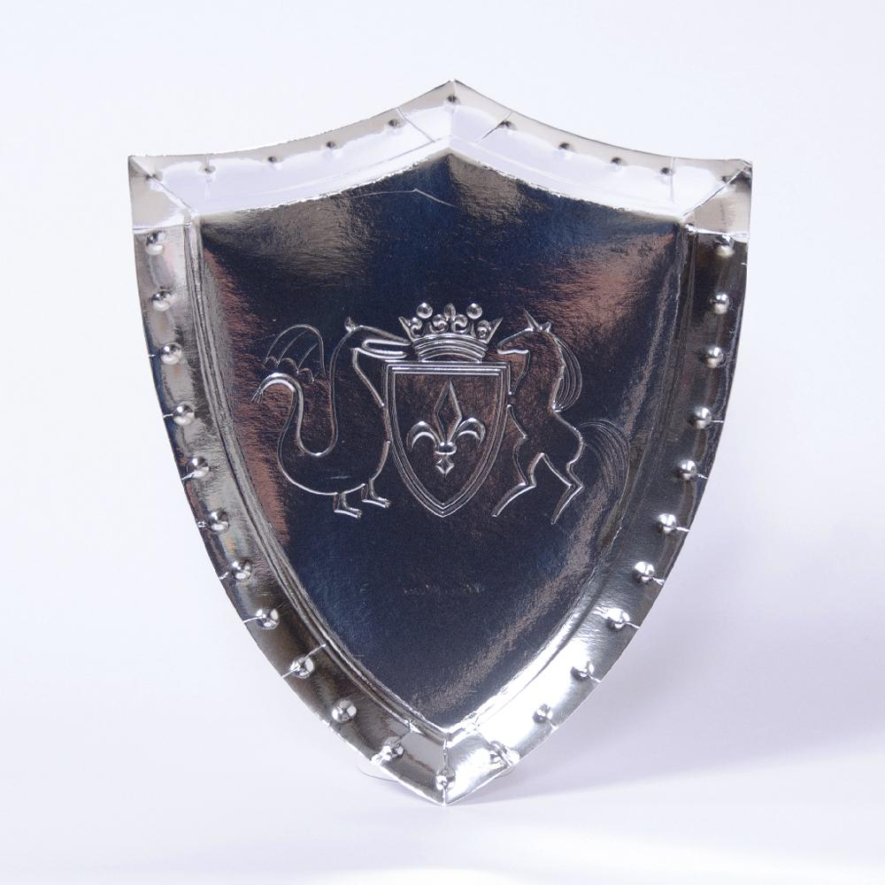 A shiny heater shield-shaped party plate with a coat-of-arms design