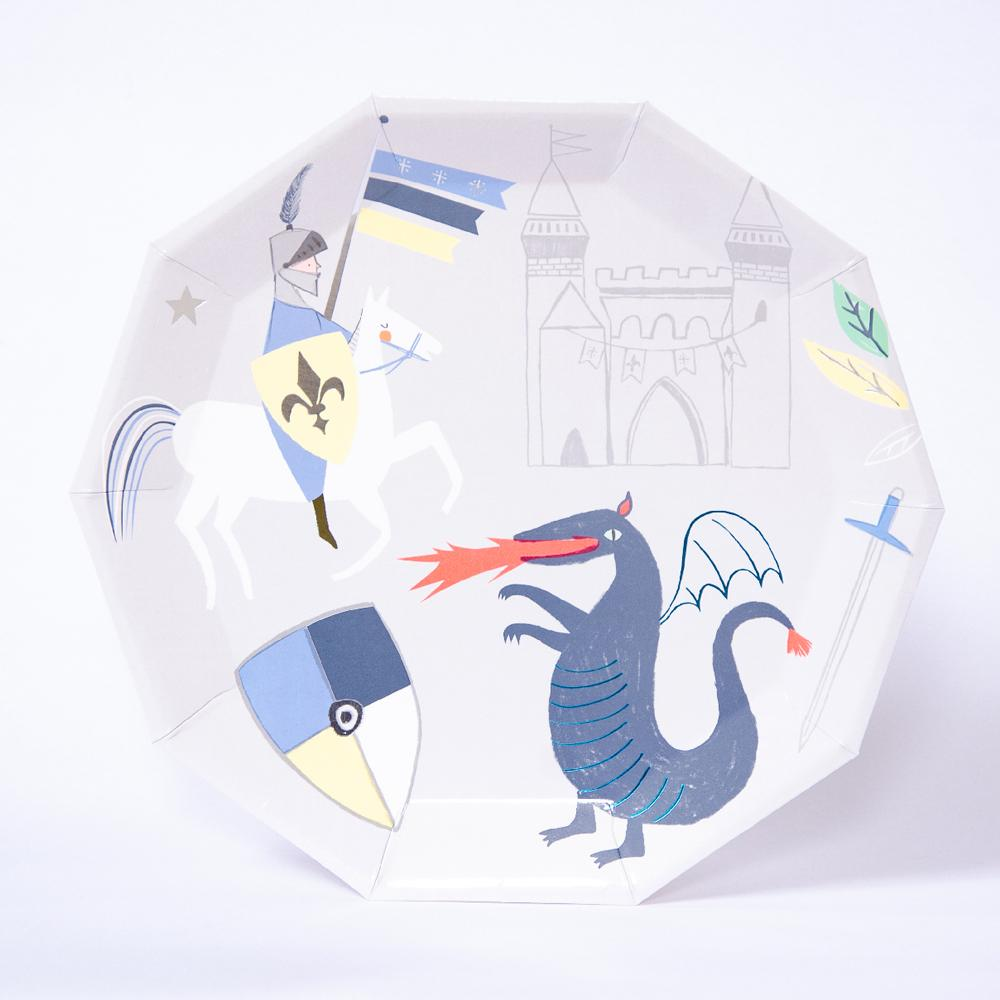 A Knight-themed party plate with cute doodles of fantasy creatures and castles