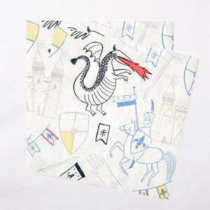2 paper party napkins with doodle designs of dragons, knights and other fantasy features