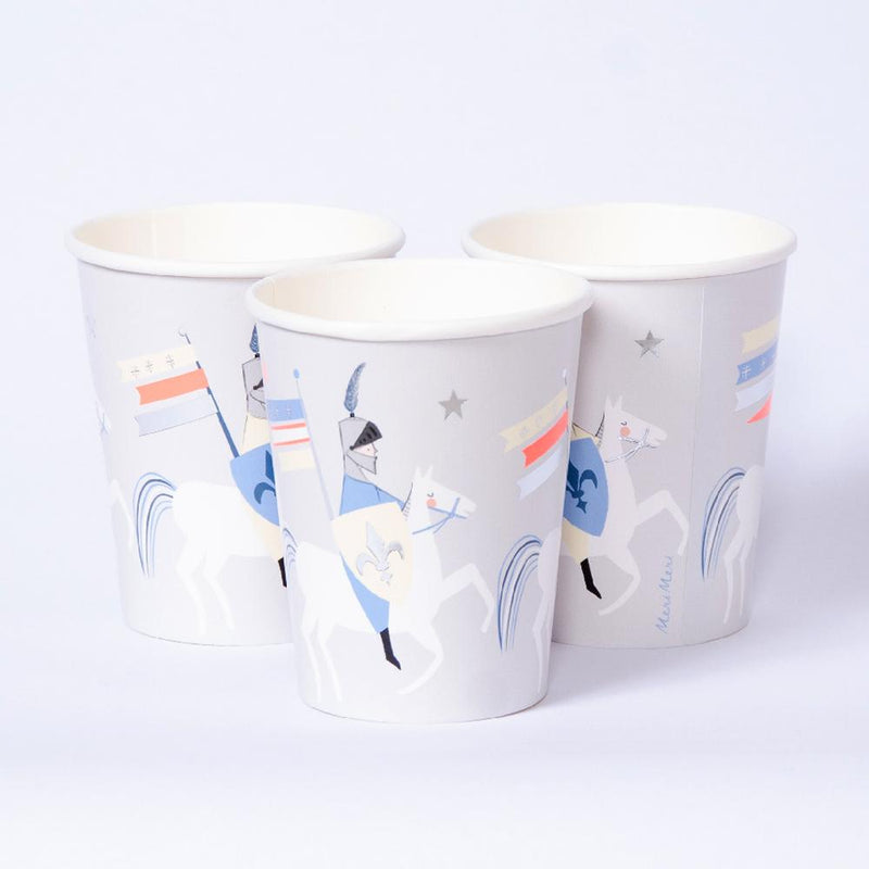 3 party cups with cute illustrations of knights, dragons, and castles