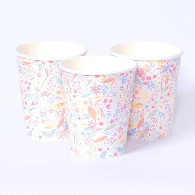 3 princess-themed party cups featuring floral patterns