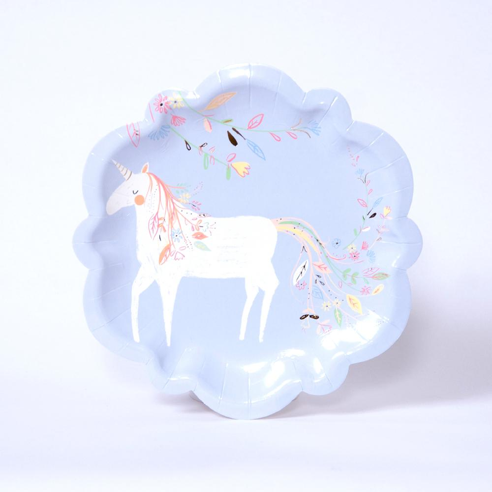 A blue princess party plate with a unicorn and floral design