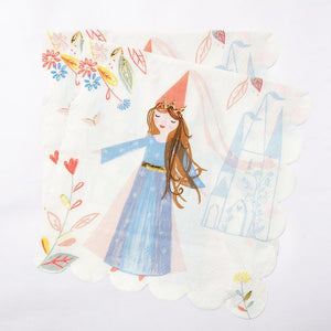 2 party napkins with an elegant, wistful princess illustration