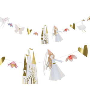 A magical princess-themed party garland with elegant party cutouts and pennants