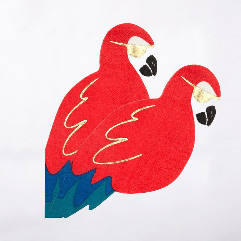 2 red and blue pirate parrot napkins wearing gold foil patches