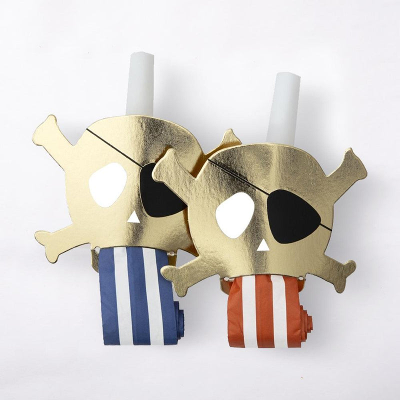 2 pirate-themed party blowers with gold foil skulls and stripy