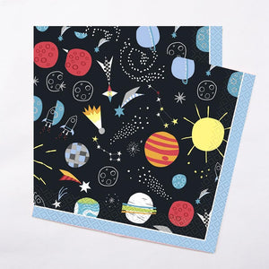 2 space-themed party napkins