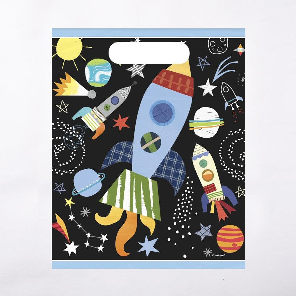 A space-themed party bag with planet, star, and rocket illustrations