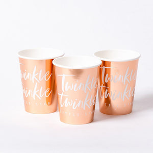 "3 baby shower rose gold party cups with the phrase ""twinkle twinkle"" written on"