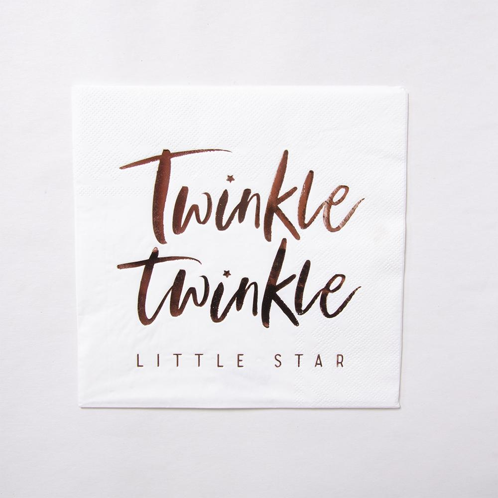 "A white baby shower napkin with ""Twinkle Twinkle Little Star"" written on in rose gold text"