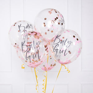Twinkle Twinkle - Baby Shower Pink Confetti Balloons (x5)