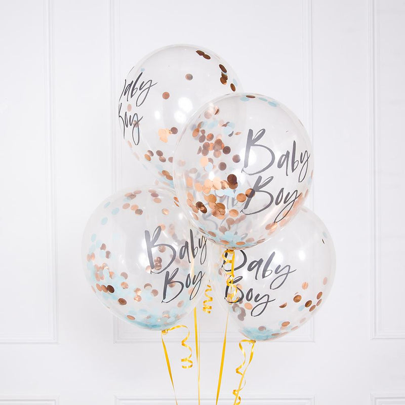 A bunch of 4 blue baby shower confetti balloons