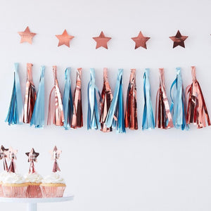 Twinkle Twinkle - Blue & Rose Gold Party Tassel Garland
