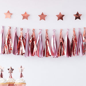 Twinkle Twinkle - Pink & Rose Gold Party Tassel Garland