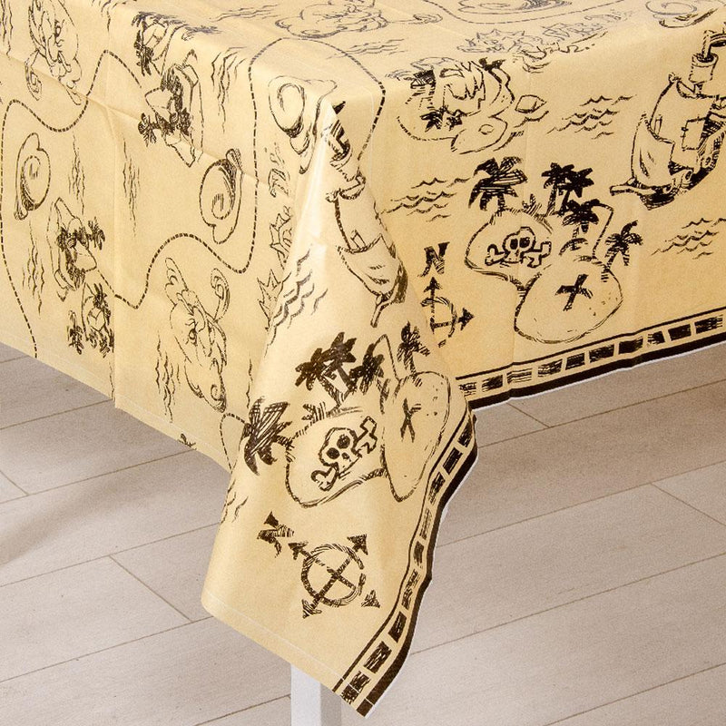 A Pirate party table cover with a treasure map design