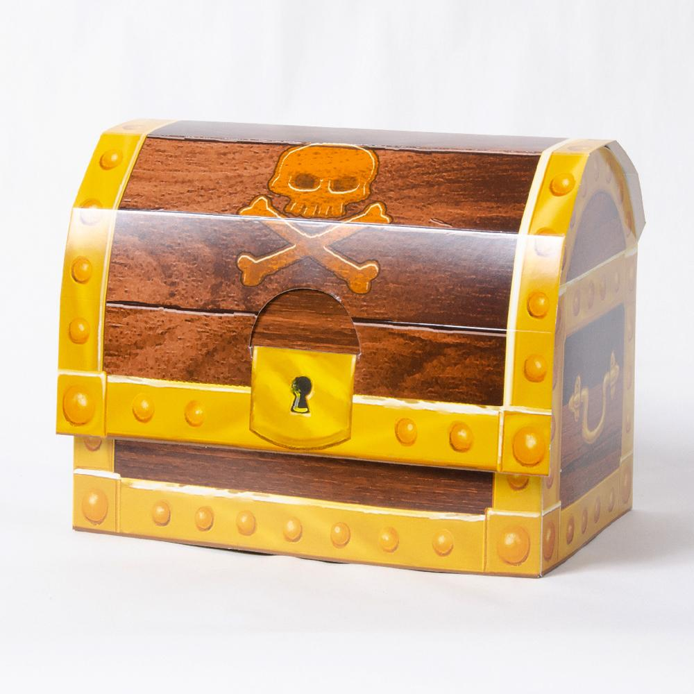 A pirate-themed party box in the shape of a treasure chest