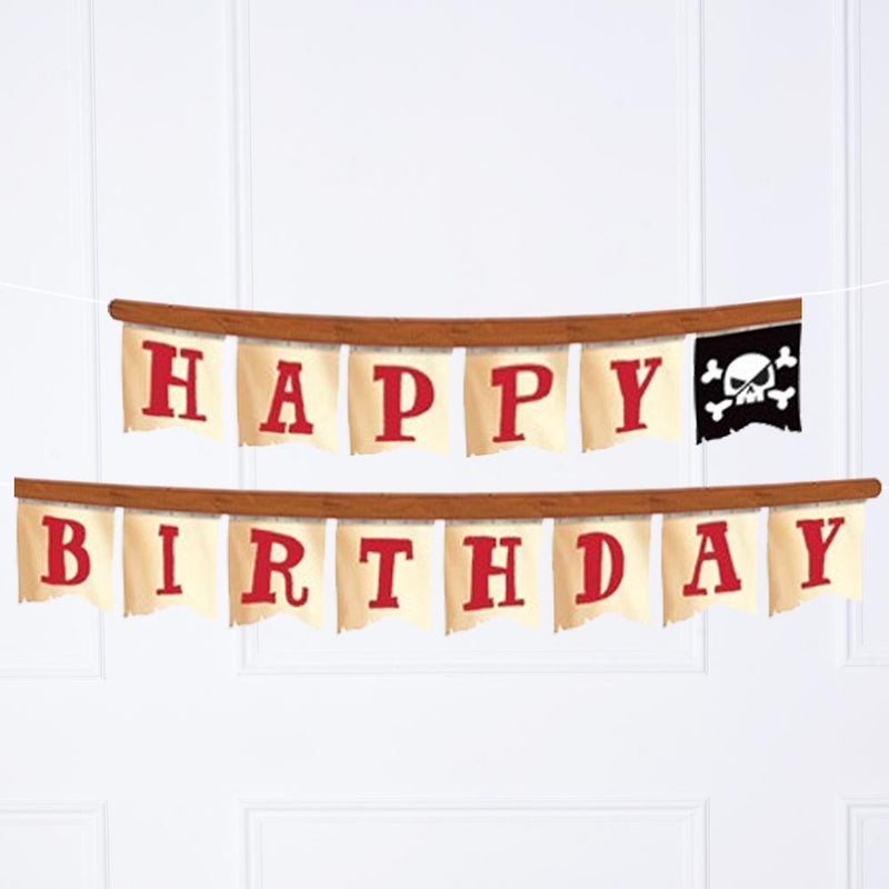 A pirate-themed Happy Birthday party banner