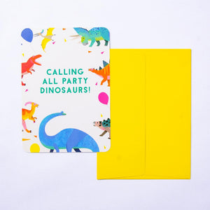 A bright and colourful dinosaur party invitation with a yellow envelope and dinosaur design
