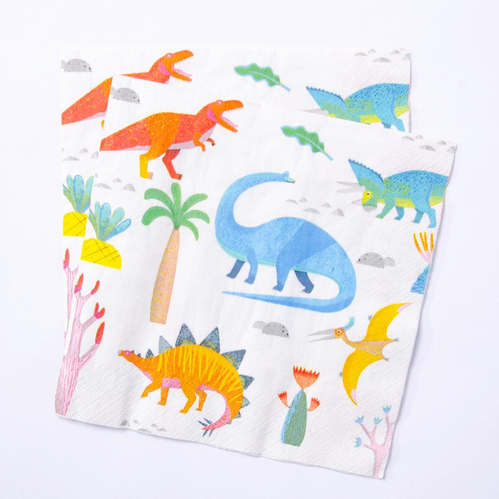 2 dinosaur party napkins with cute watercolour-styled design
