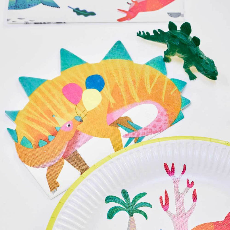A biodegradeable dinosaur party napkin featuring a Stegosaurus holding party balloons