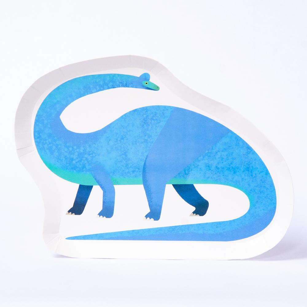 A biodegradeable dinosaur party plate featuring a bright blue Diplodocus