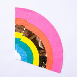 A set of rainbow-themed party napkin with a gold foil stripe