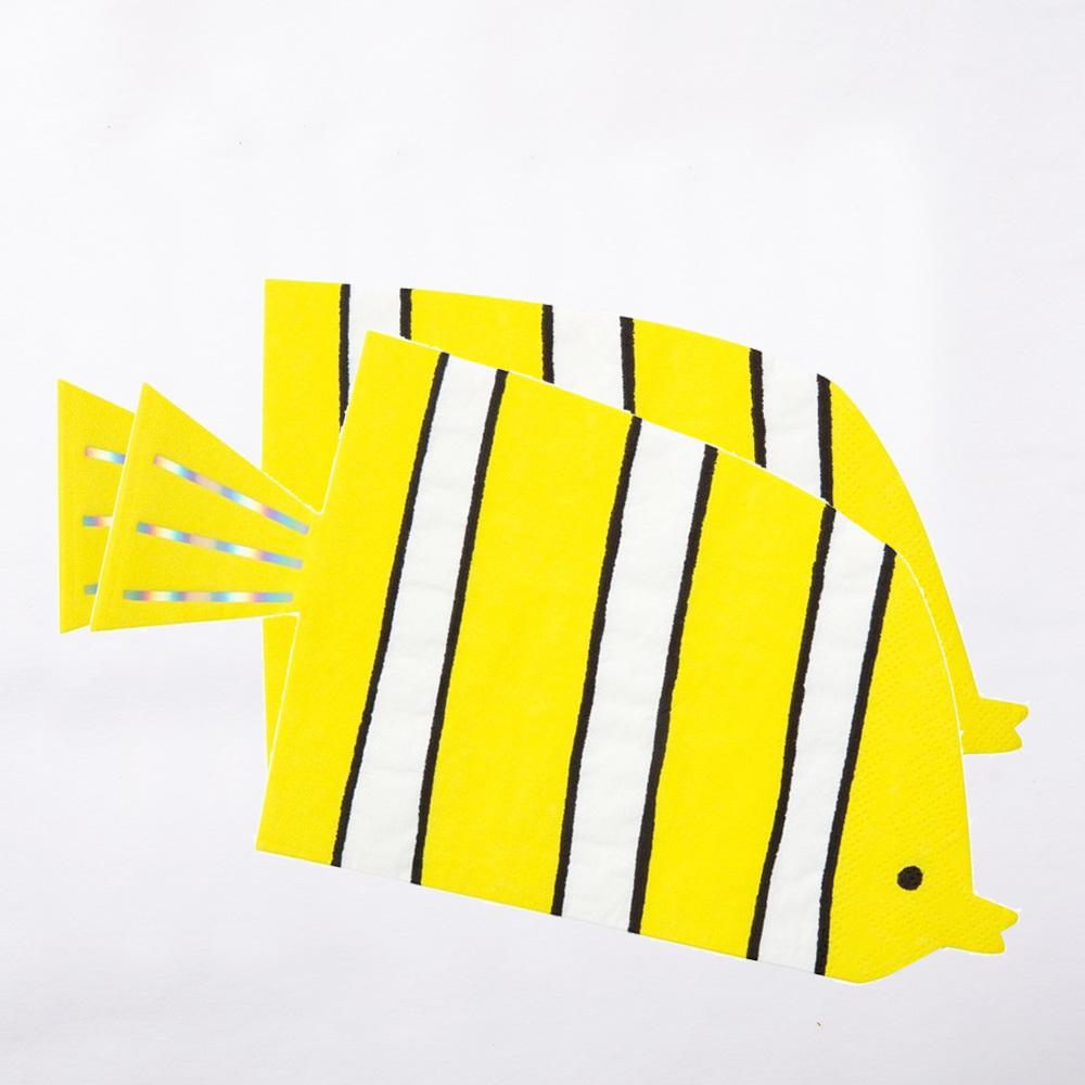 Under The Sea - Fish-Shaped Napkins (x16)