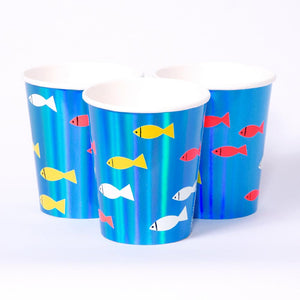 3 ocean-themed party cups coated with a fish shapes and blue iridescent foil finish