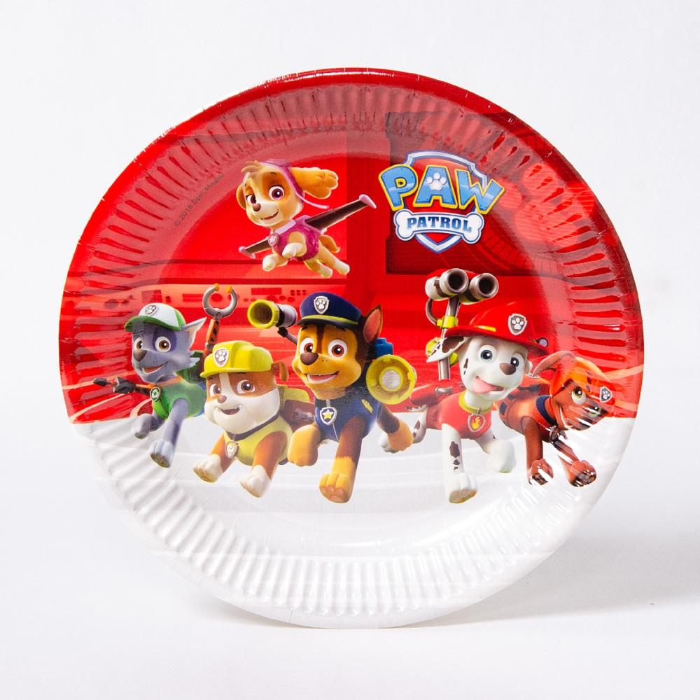 A round party plate featuring the characters from Paw Patrol