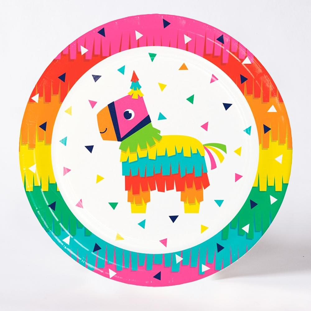 A round pinata-themed party plate with a rainbow tassel design