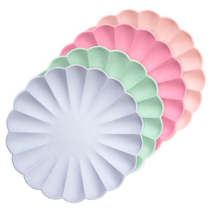Simply Eco - Multicolor Large Scalloped Party Plates (x8)