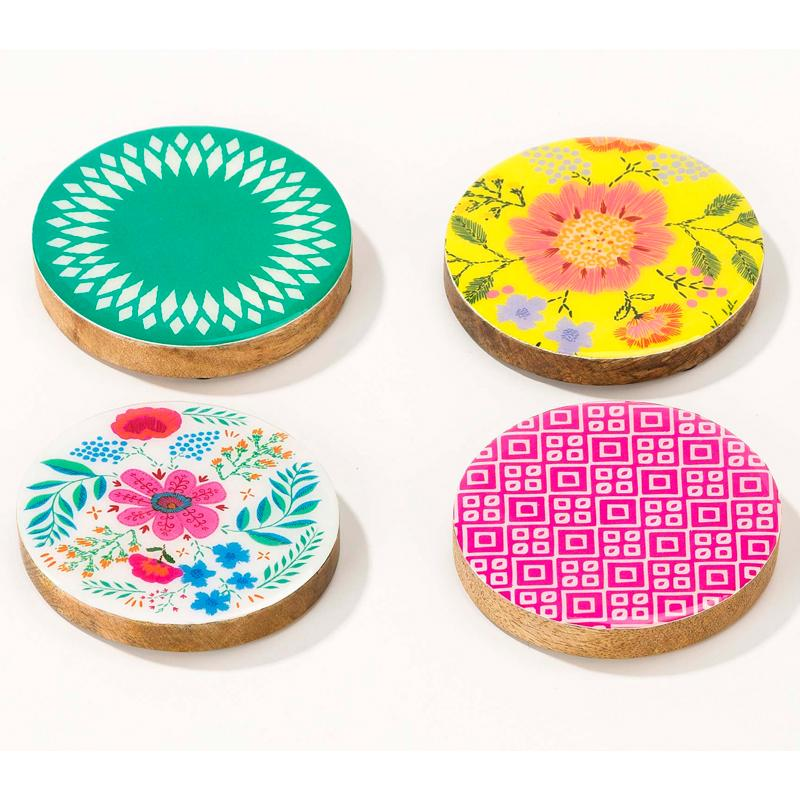 Boho Party - Mango Wood Coasters (x4)