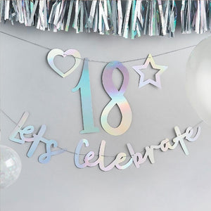 An iridescent party banner featuring a let's celebrate phrase and a customisable number