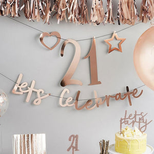 "A rose gold party banner with a ""let's celebrate"" phrase and a customisable party number"