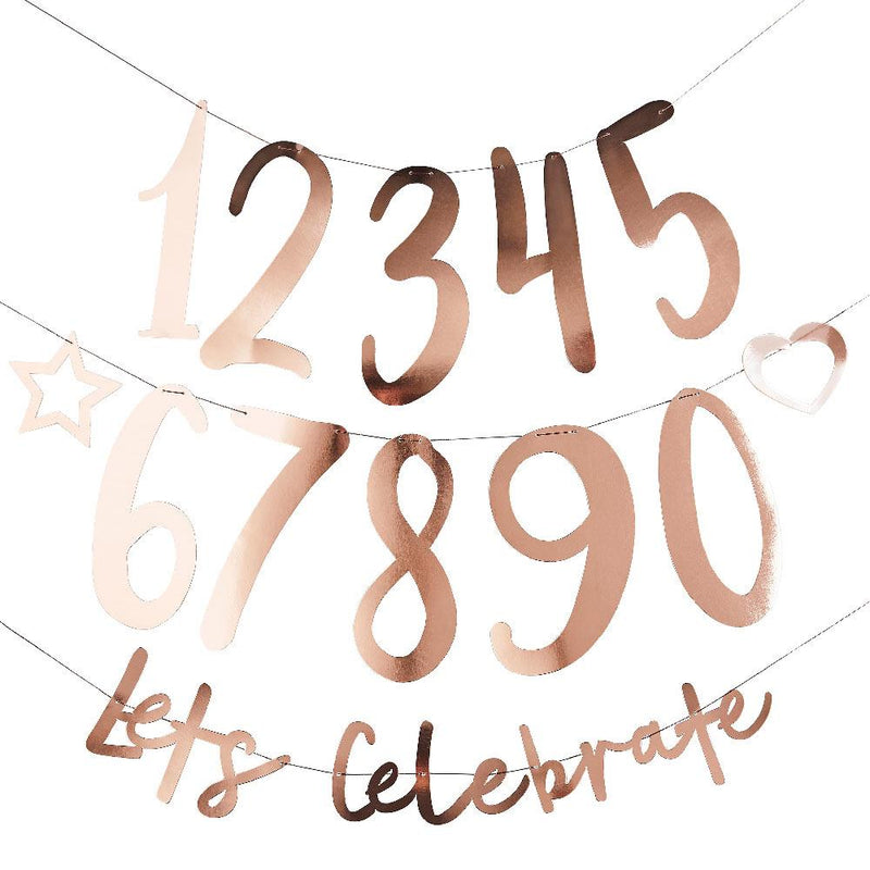 Create Your Own Birthday Banner - Rose Gold