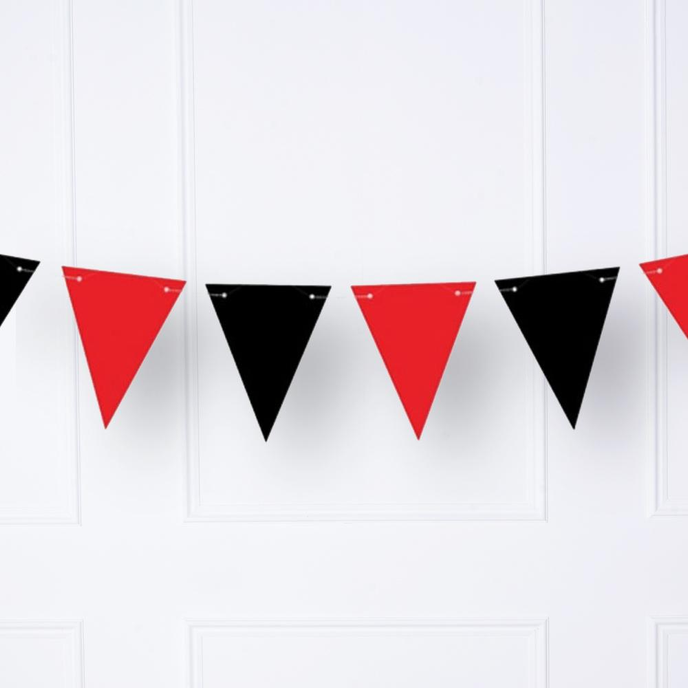 A black and red pirate party bunting