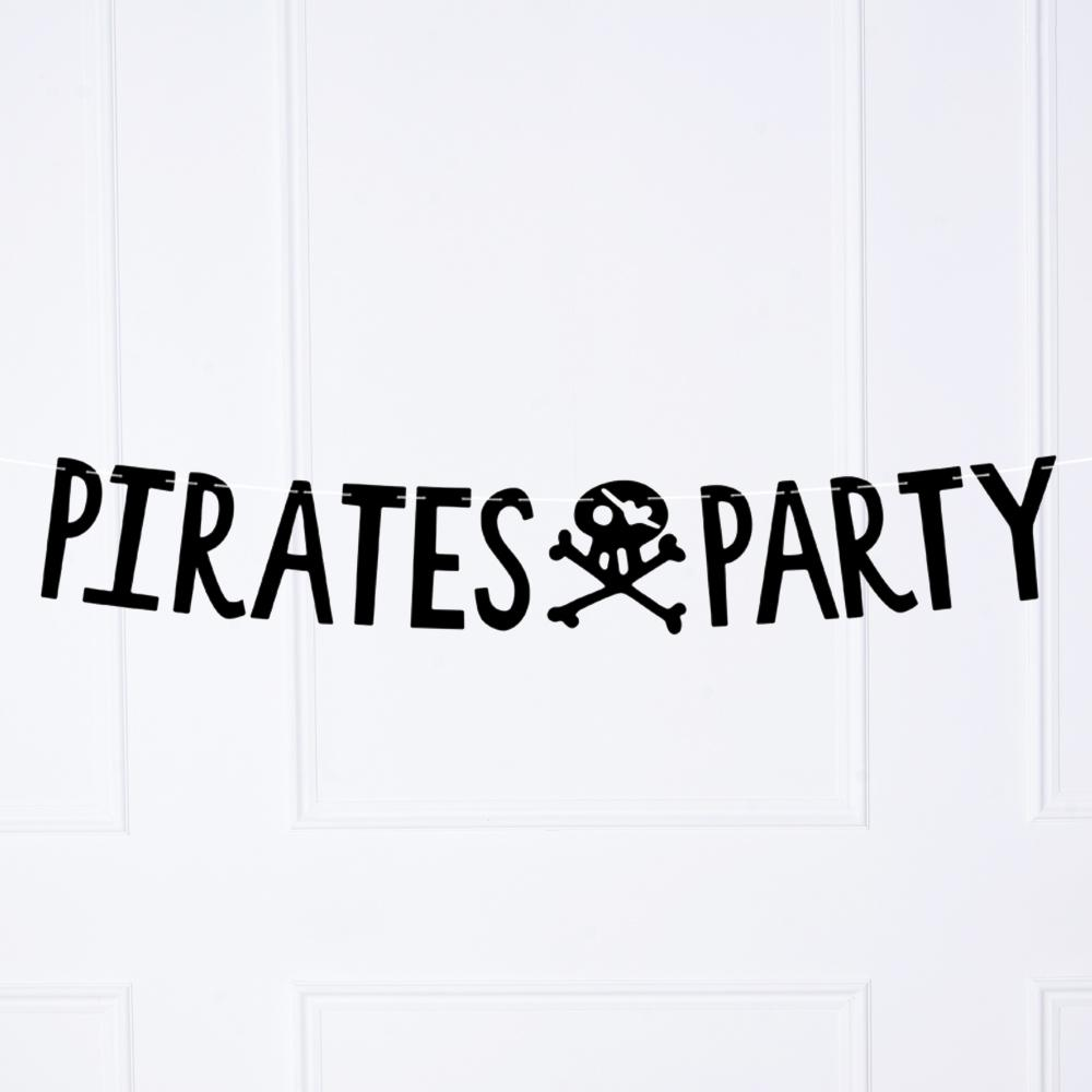 "A black party banner with a skull and crossbones and message saying ""Pirates Party"""